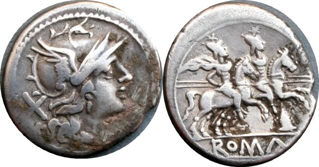 124/2 #0558-38 Meta Roma Dioscuri Denarius