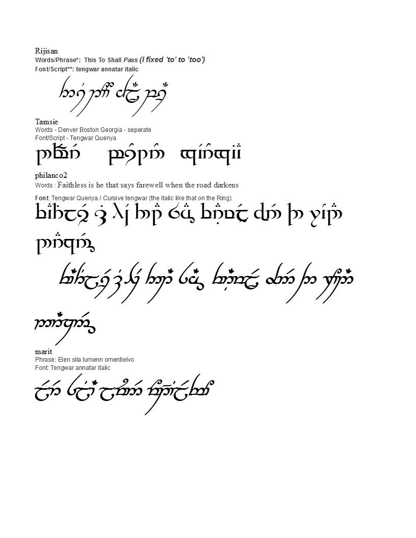 Lord Of The Rings Elvish Writing Tattoos