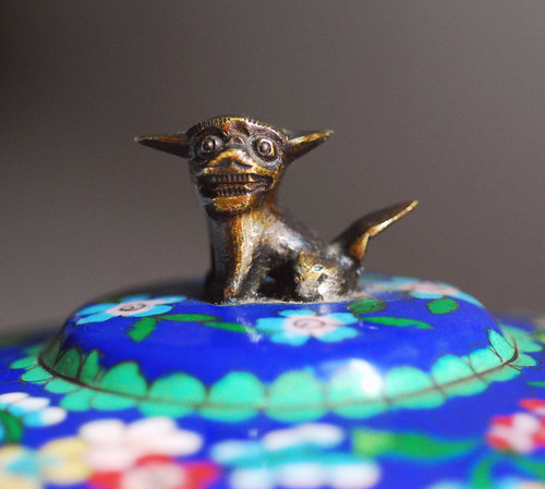 cloisonne lidded box dog detail  by kimhas7cats