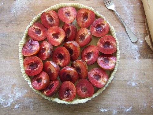my mom's pluot tart, ready for half-baking (then we add the flan!)