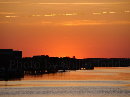 sunset sun reflection beach water set gold boat canal nc dock ripple north over carolina holden