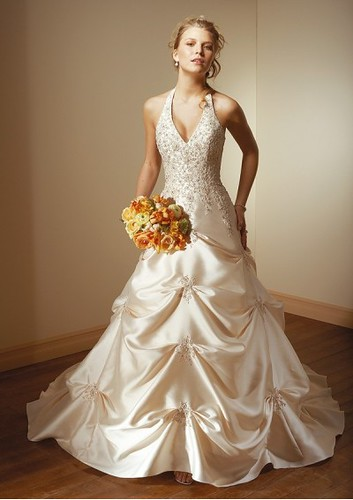 Satin Sexy V-neck Halter A line Pick up Skirt with Chapel Train Hot Sell Wedding Dress WL-0060