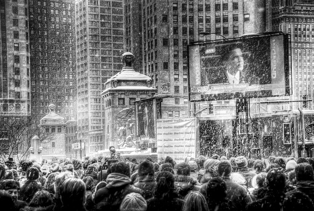 Barack Obama Inauguration jumbotron in Chicago: 7