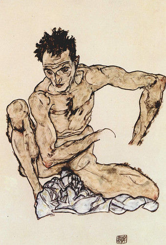Egon Schiele Self Portrait Crouching