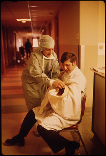 A New Father Holds His Child for the First Time in Loretto Hospital in New Ulm, Minnesota ..., 10/1974