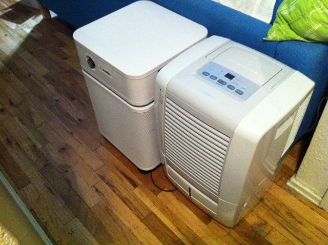 Our new air purifier and dehumidifier look like little droid buddies!