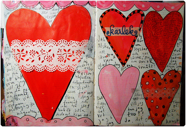 Shapes of sweet lovin in my Art Journal