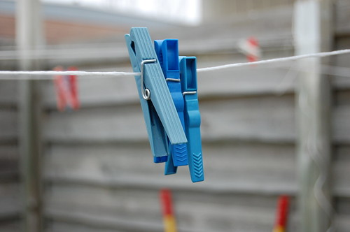 some blue clothes pegs.