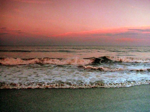 ocean pink blue sunset sky cloud water clouds sand waves vibrant tide wave shore atlanticocean