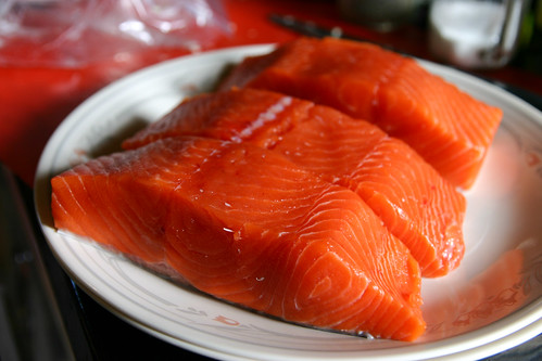 Beautiful and fresh sockeye salmon