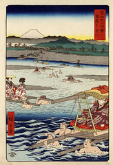 Hiroshige: Ōi River between Suruga and Tōtōmi Provinces, 1858