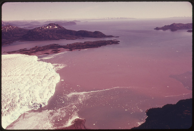 DOCUMERICA: View South Across the Snout of Columbia Glacier to Prince William Sound...08/1974 by Dennis Cowals.