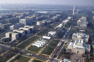 Aerial Photography, William J. Clinton Presidential Inauguration, aerial Mall, (depicting area of NASM towards Washington Monument), TENTS