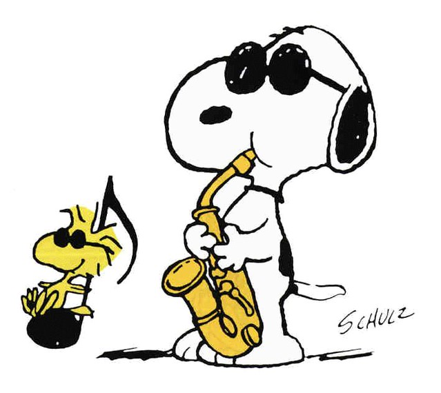 Joe Cool (Snoopy) playing the sax with Woodstock