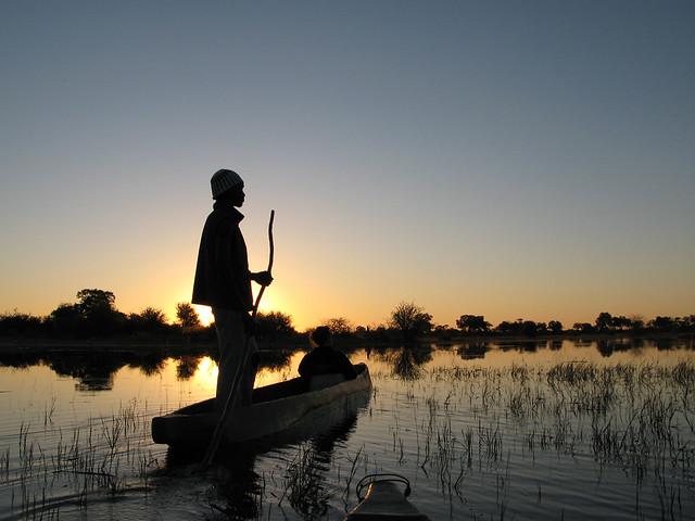 Atardecer en el Delta del Okavango, Botsuana.
