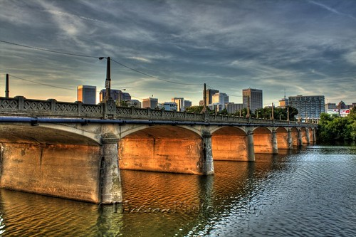 bridge sunset water canon river evening virginia richmond hdr jamesriver watercrossing mayobridge