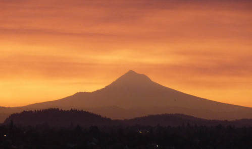 Mount Hood from Portland at sunrise
