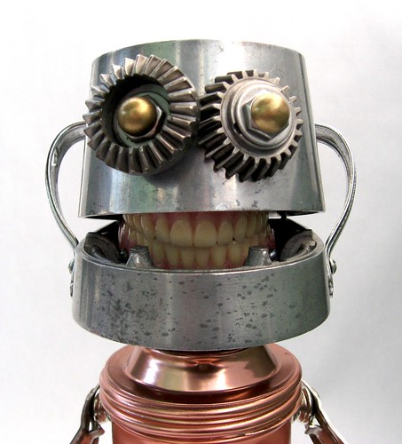 Dr. Denture - Close up - Robot sculpture assemblage from found objects