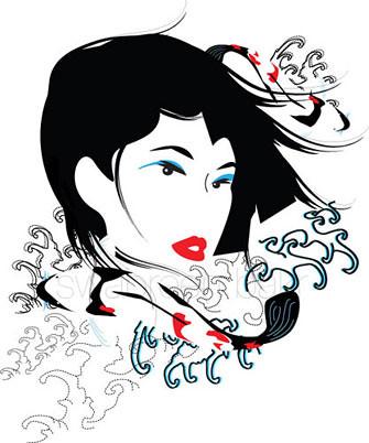 Vector illustration of minimalist koi and woman amongst Japanese style