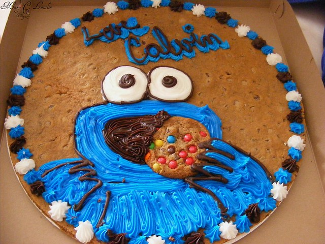 Cookie Cake Ideas For Boyfriend : Cookie Monster Cookie Cake Late birthday gift from my ...