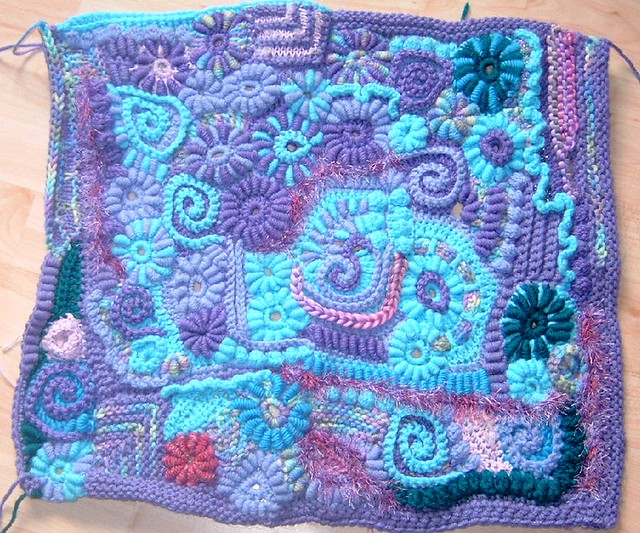 Freeform Crochet/Knitting (Back od Cardigan) | Flickr ...
