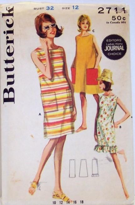 Butterick 2711 Vintage 60s Sewing Pattern Mod A-Line Beach Dress, Shift UNCUT