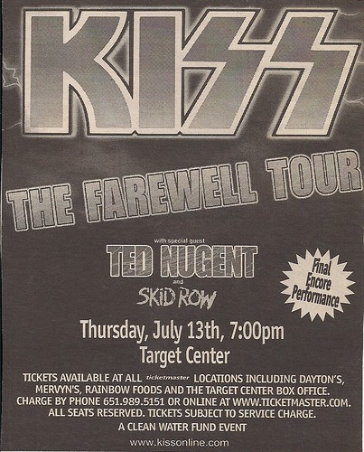 07/13/00 Kiss/Ted Nugent/Skid Row @ Minneapolis, MN (Ad #1)