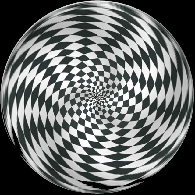 Op Art Waved Checkerboard Black and White One