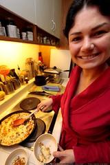 rachel serving her mom's fritata