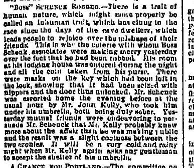 Boss Schenck Robbed - April 6 1881 Oregonian