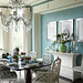Blue dining room + green and white accents by SarahKaron