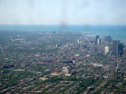 Distant view of Wrigley Field, home of the Chicago Cubs