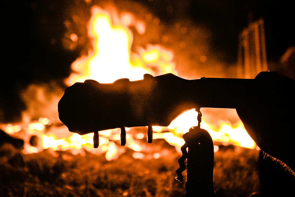 Guitar and camp fire