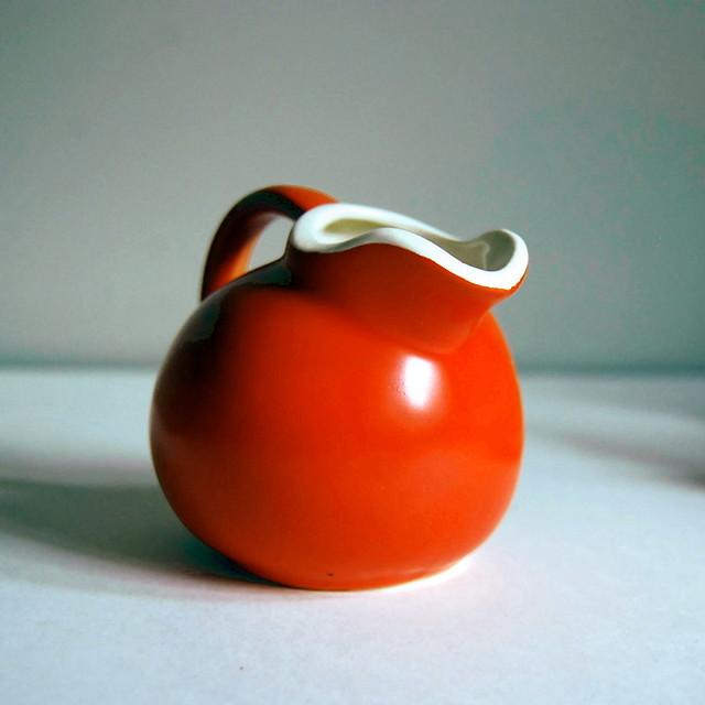 Poppy Orange Ball Creamer or Pitcher
