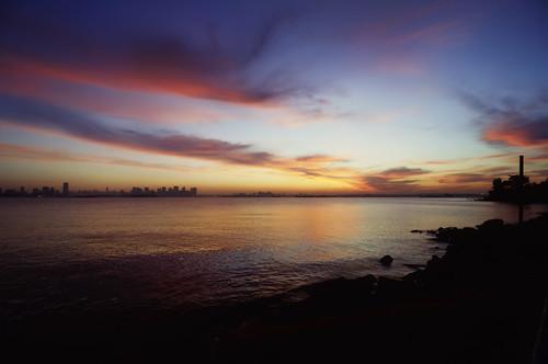 nyc newyorkcity longexposure newyork reflection skyline sunrise geotagged dawn newjersey jerseycity esb hudsonriver empirestatebuilding hdr bayonne goldmansachs mudpig stevekelley