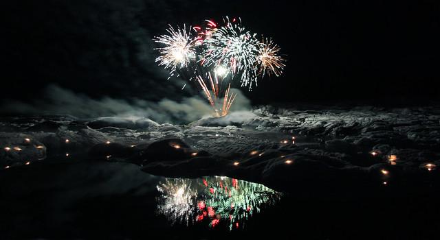 Fireworks over Jökulsárlón