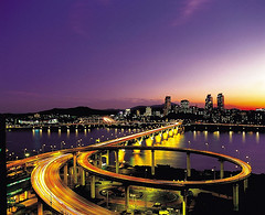 Chungdam Bridge, Seoul Korea  (night shot)
