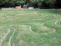 garden, grass, plain, labyrinth, landscape,