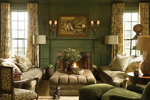 'Calke Green' by Farrow & Ball: Living room by Barry Dixon