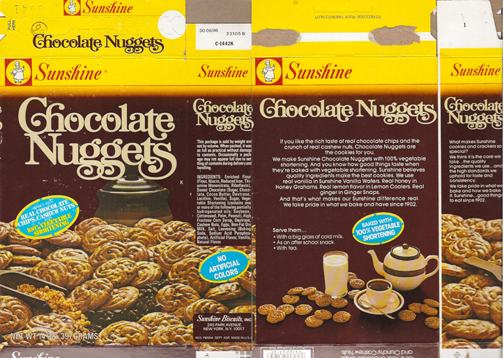 1980 Sunshine Chocolate Nuggets Cookie Box