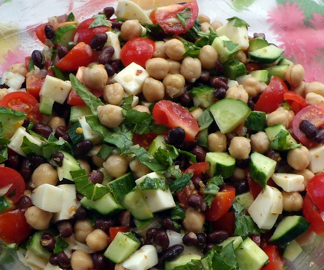 Cucumber And Tomato Salad With Garbanzo Beans And Basil Recipe ...