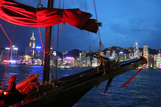 Traditional Chinese Junk on Victoria Harbor in Hong Kong
