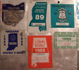 USA 1988-89 ---TRUCK PRORATE PLATE and TAX STICKERS, PIC #3 ---OH, MS, RI, IN, AL, and GA. close up of stickers