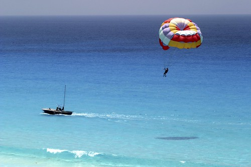 Parasailing over the Water of the Riviera Maya
