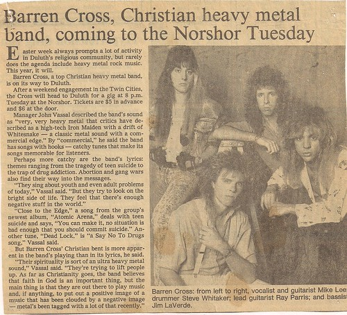 03/29/88 Barren Cross @ Duluth, MN (Newspaper Article)