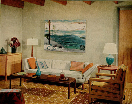 Cool Rooms on Blue   Brown 1960s Living Room  Warm   Cool Tones   George Bellows