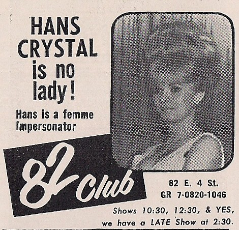 November 1967 Club 82 Advertisement - NYC, NY