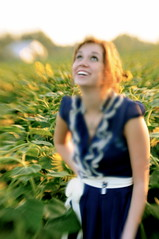 Mandi with the lensbaby in the sunflower field...