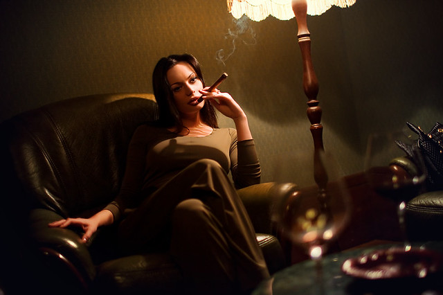 Posh Woman with Cigar