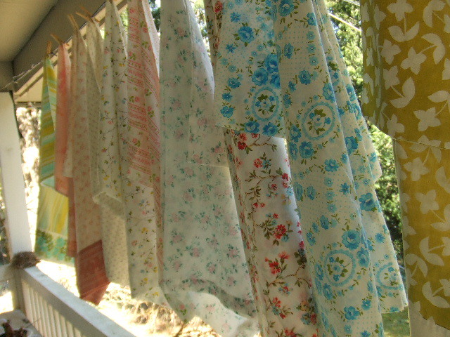 vintage pillow case outside